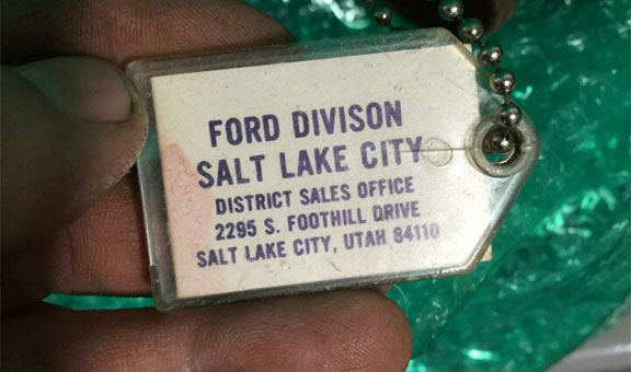 The Mach 1's original key tag from the DSO of Salt Lake City were the car was originally delivered to from the Dearborn, Michigan factory!